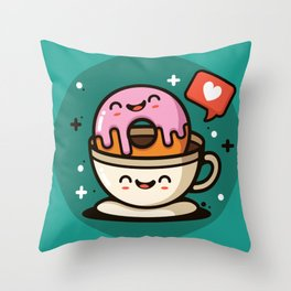 Like Donuts and Coffee Throw Pillow