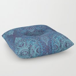 Aqua, Cobalt Blue & Purple Protea Doodle Pattern Floor Pillow