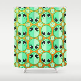 Happy Alien and Daisy Nineties Grunge Pattern Shower Curtain