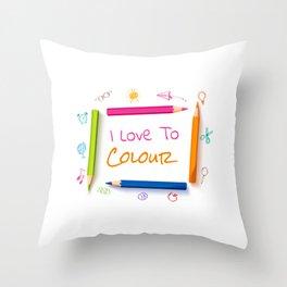 I Love To Colur Throw Pillow