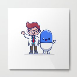 Cute Doctor With Capsule Medicine Cartoon Icon Illustration Health Medical Icon Concept Isolated Fla Metal Print