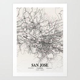 San Jose - Califonia Neapolitan City Map Art Print