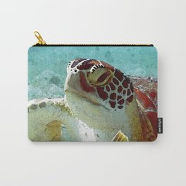 Watercolor Green Turtle Greeting Carry-All Pouch