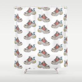 Balenciaga Triple S Sneaker Pattern Illustration Shower Curtain