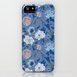 Lovely Seamless Floral Pattern With Subtle Poodles (Hand Drawn) iPhone Case