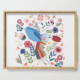 Folk Art Inspired Hummingbird In A Burst Of Springtime Blossoms Serving Tray