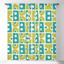 Funky Mid Century Modern Pattern 773 Turquoise and Chartreuse Blackout Curtain