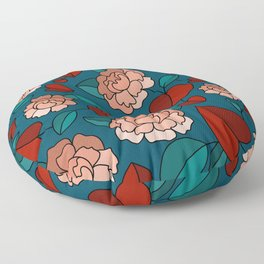 Flowers with Heart Leaves Floor Pillow