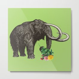 A Mammoth in Love - Lime Metal Print
