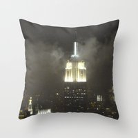 gotham Throw Pillows featuring Gotham city by Helen Frame