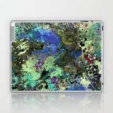 Deep In Thought - Black, blue, purple, white, abstract, acrylic paint splatter artwork Laptop & iPad Skin