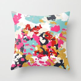 Inez - Modern Abstract painting in bold colors for trendy modern feminine gifts ideas  Throw Pillow