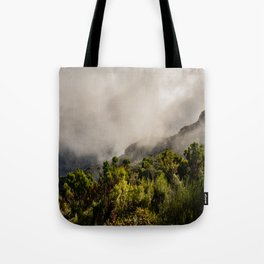Foggy mountains in the midlands of Madeira Tote Bag