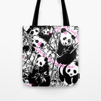 pandas Tote Bags featuring Pandas by beach please