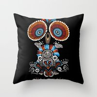 mexican Throw Pillows featuring Mexican Owl by Msimioni