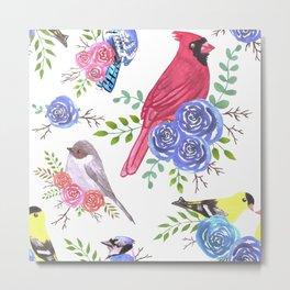 American backyard birds and florets Metal Print