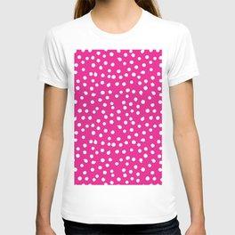 Simply White Dots Polkadots on pink background - Mix & Match T-shirt
