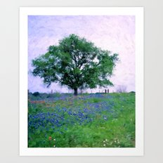 Bluebonnet Tree Art Print