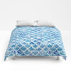 AZTEC MERMAID Tribal Scallop Pattern Comforters