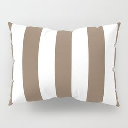 Pastel brown - solid color - white vertical lines pattern Pillow Sham