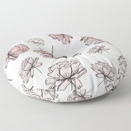 Hand Drawn Peonies Dusty Rose Floor Pillow
