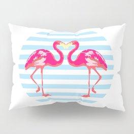 Flamingo, Flamingo t-shirt, watercolor poster, pink in blue stripes, circle Pillow Sham