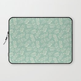 Painted Leaves - a pattern in cream on soft mint green Laptop Sleeve