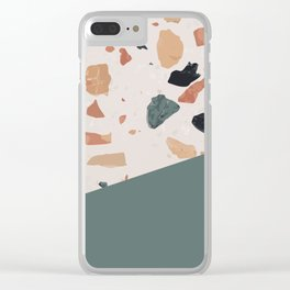 Terrazzo Texture Antique Green #1 Clear iPhone Case