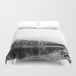 Grand Tetons in Black and White Duvet Cover