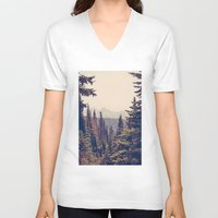 calm V-neck T-shirts featuring Mountains through the Trees by Kurt Rahn