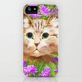 Cat And Flowers - Digital Remastered Edition iPhone Case