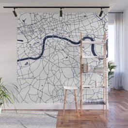 London White on Navy Street Map Wall Mural
