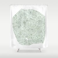 milan Shower Curtains featuring Milan Italy watercolor map by Anne E. McGraw
