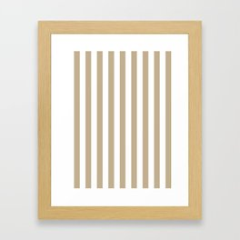 Narrow Vertical Stripes - White and Khaki Brown Framed Art Print