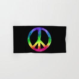 Rainbow Watercolor Peace Sign - Black Background Hand & Bath Towel