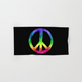 Rainbow Watercolor Peace Sign - Black Background Hand & Bath Towel