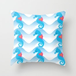 Seahorses And Blue Waves Pattern Throw Pillow