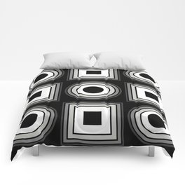 Fade To Black - Abstract, black and white, geometric, 3D effect artwork Comforters