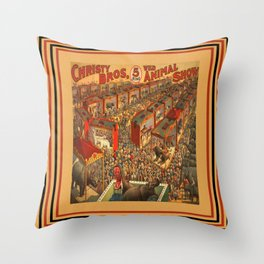 Illustrated Circus Poster Throw Pillow