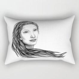 Flow (BW) - Woman Sketch Rectangular Pillow