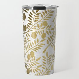 Gold Olive Branches Travel Mug