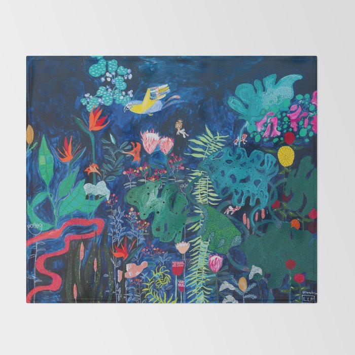 Brightly Rainbow Tropical Jungle Mural with Birds and Tiny Big Cats Throw Blanket