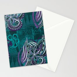 Polynesian - Hawaiian - Samoam Emerald Tribal Threads Stationery Cards