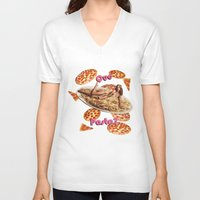 pasta V-neck T-shirts featuring Que Pasta? by themattpeterson