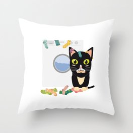 Cat with washing machine   Throw Pillow