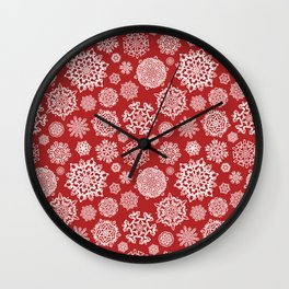 Seasonal snowflake pattern on red Wall Clock