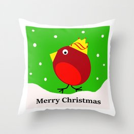 Merry Christmas Robin Throw Pillow