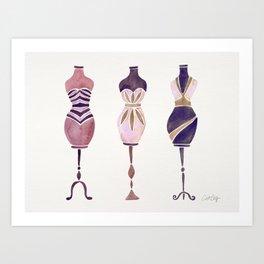 Vintage Dress Forms – Mauve Palette Art Print