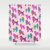 poodle Shower Curtains featuring Poodle Mania by Elizabeth Kate