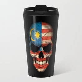 Dark Skull with Flag of Malaysia Travel Mug